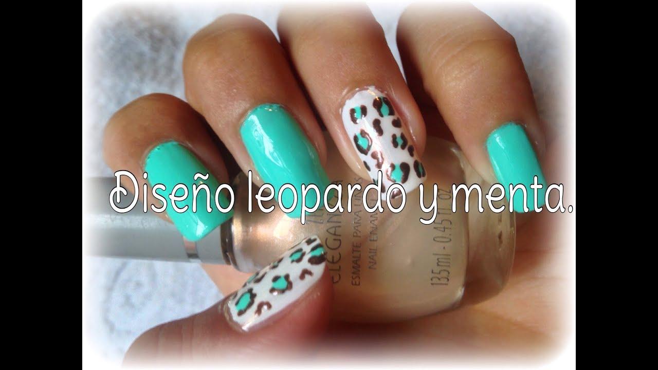 Diseño de uñas: Leopardo y Menta. - YouTube