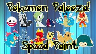 POKEMON PALOOZA! - Speed Painting Pokemon Characters - Part # 1