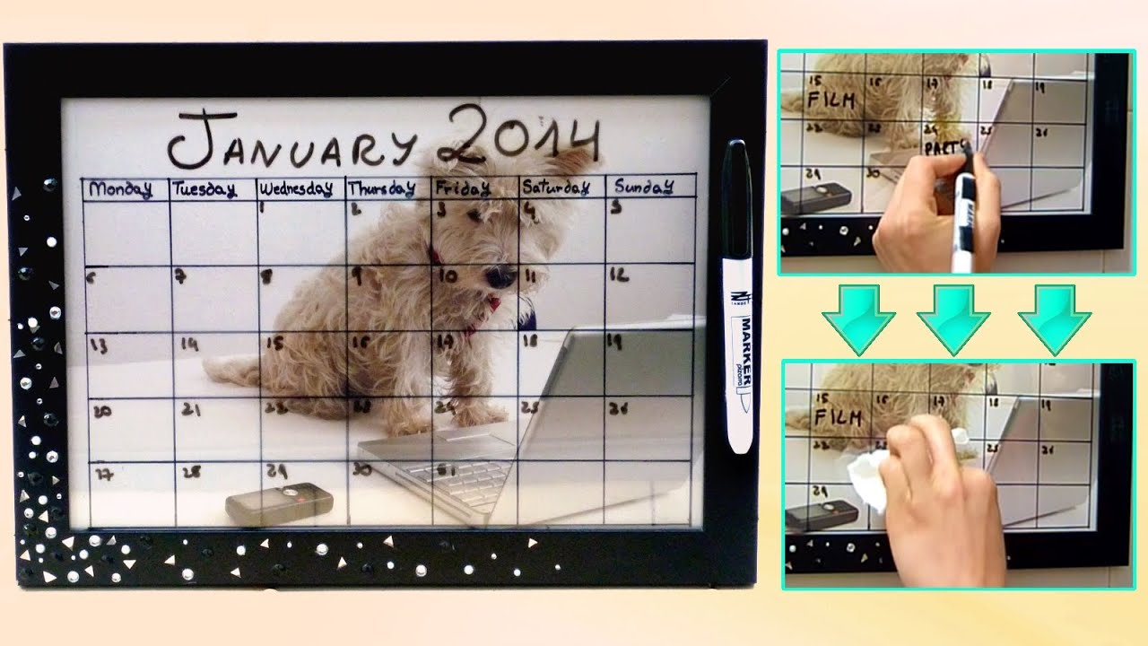 DIY back to school ❤ Dry erase calendar! Easy & customizable - YouTube