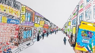 City Street Drawing (Timelapse) with Washable Markers (Color Buddy) | No Pencil | Draw with Namgyal