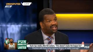 UNDISPUTED on FS1   Kyrie rips media after Kevin Durant rumors;  This doesn't make the league fun