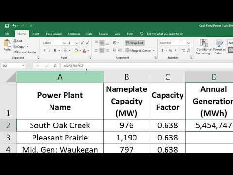 Coal Fired Power Plant Emissions Calculator