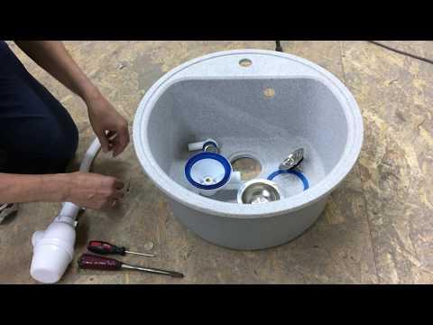 Установка сифона с круглым переливом на керамогранитную мойку