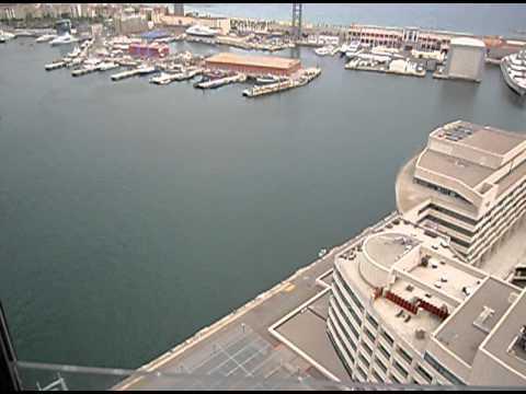 Barcelona Cable Car Across the Marina Harbor Very High