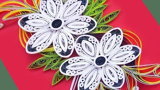 Paper art   How To Make Beautiful Quilling Flowers Design Birthday Card  Paper Quilling Art