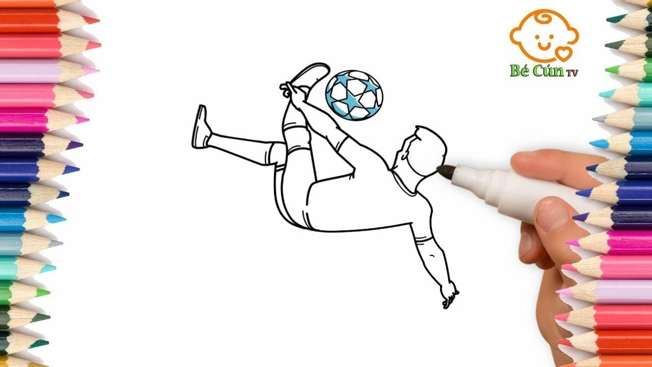 Cùng các bé tập vẽ cầu thủ bóng đá | Learn to draw football | Bé Cún TV