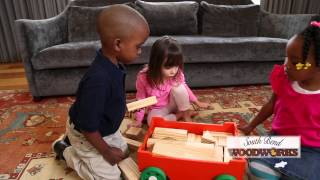 South Bend Woodworks Wooden Block Wagon Three Children