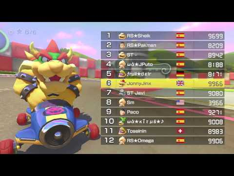 Mario Kart 8 Global  - Reaching 9999 VR (Selected Races)