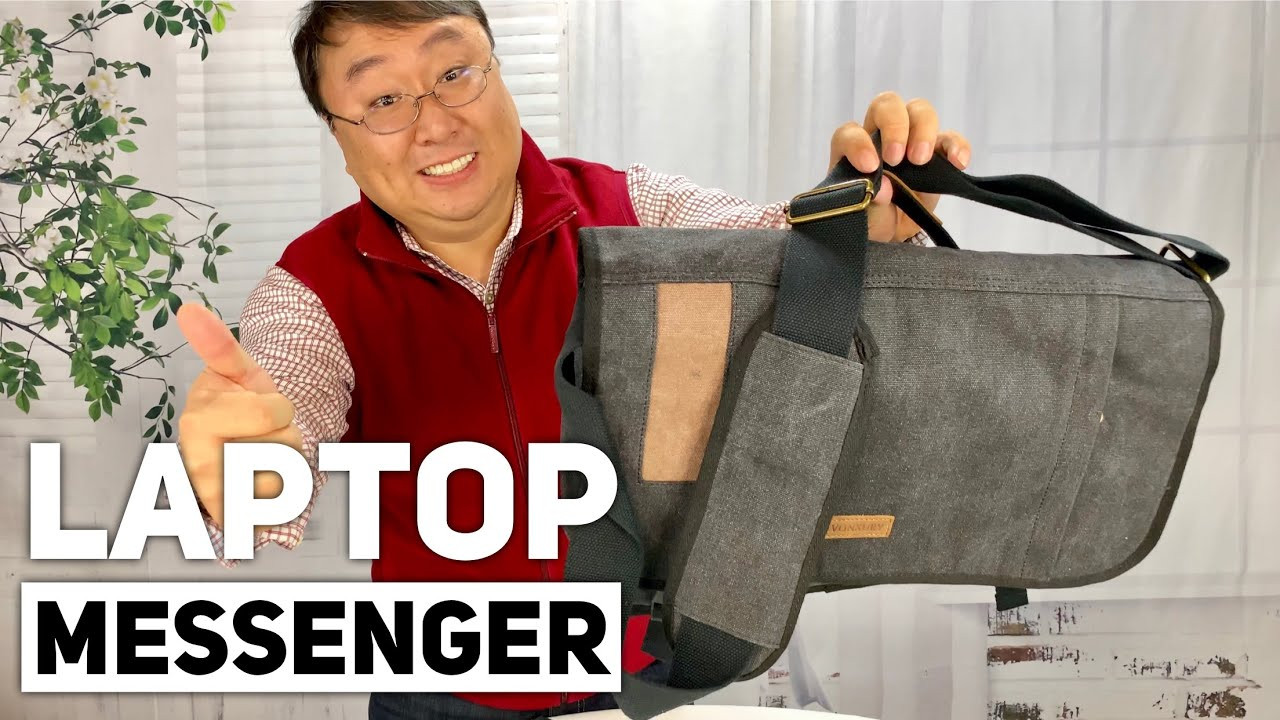 a167231f1a8b Premium Canvas Laptop Messenger Bag by VONXURY Review