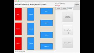Demonstrating the implemented features of a restaurant billing management sytsem build with javafx.