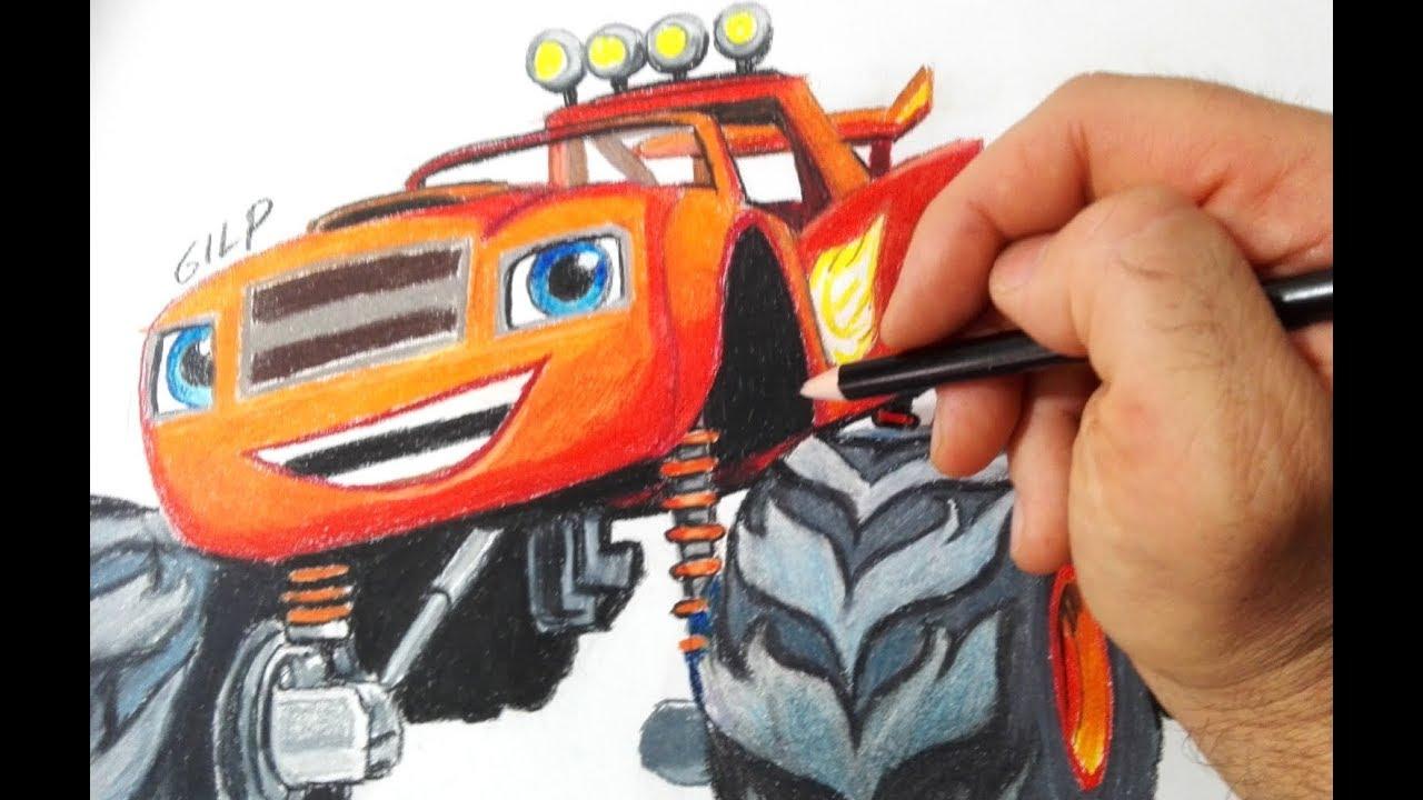 Come Disegnare E Colorare Blaze E Le Megamacchine Youtube