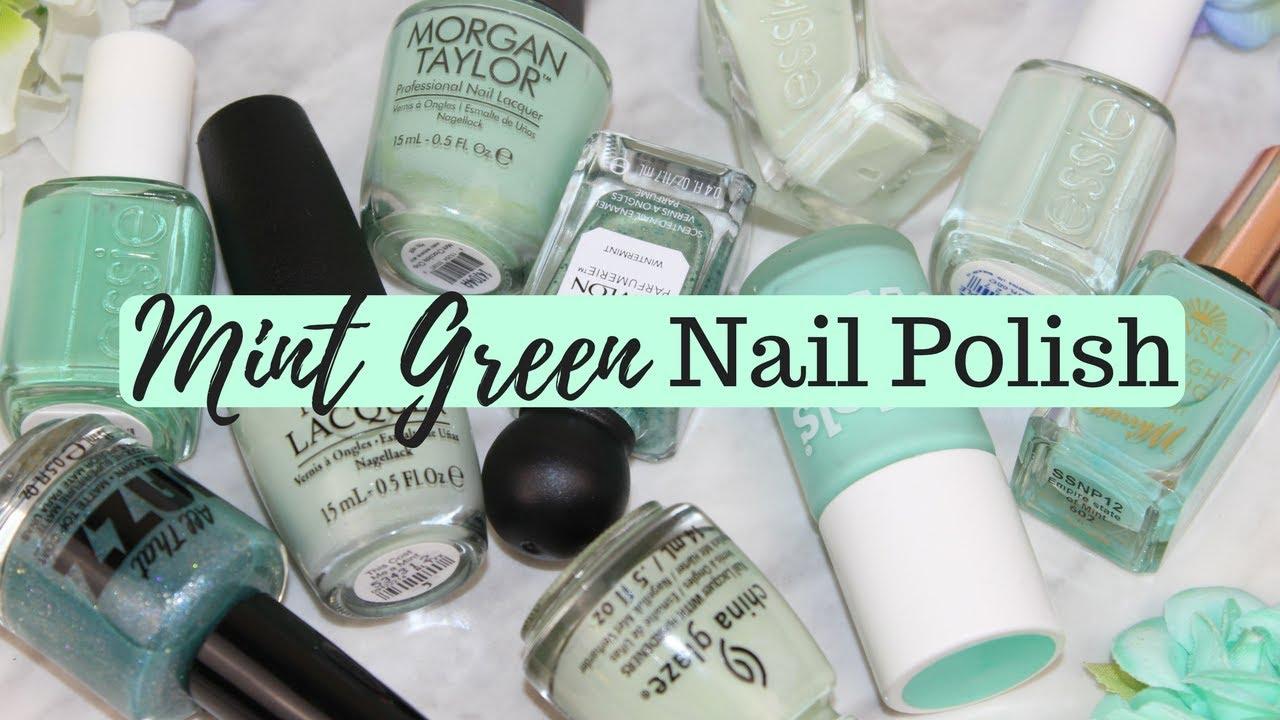 TOP 10 NAIL POLISHES - Mint Green Nail Polish Picks & Swatches - YouTube