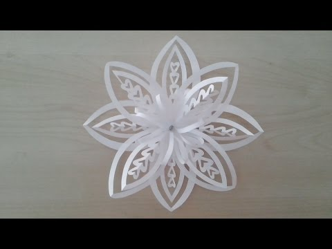 Volumetric 3D snowflake out of paper. 3D Paper Snowflake