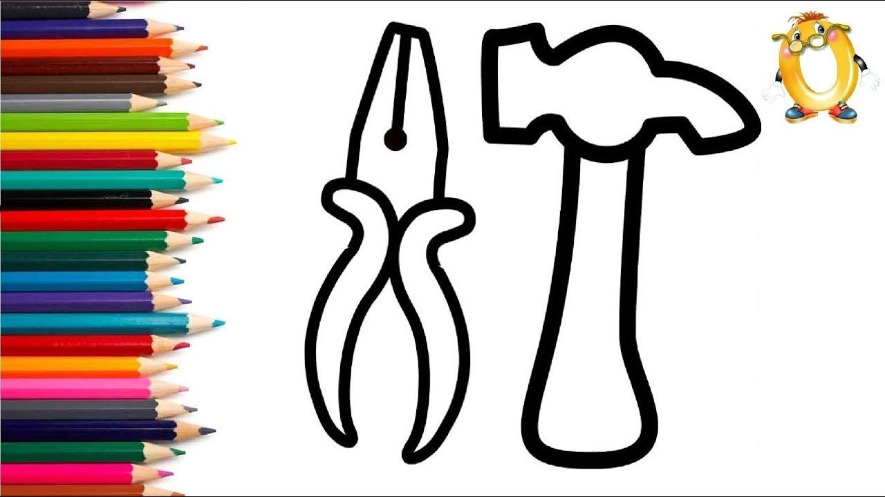 Раскраска для детей ИНСТРУМЕНТЫ ДЛЯ СТРОИТЕЛЬСТВА. Мультик ...