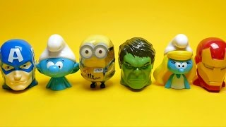 Marvel Candy Surprise Heads - Captain America, Hulk, Ironman, Minion, Smurf