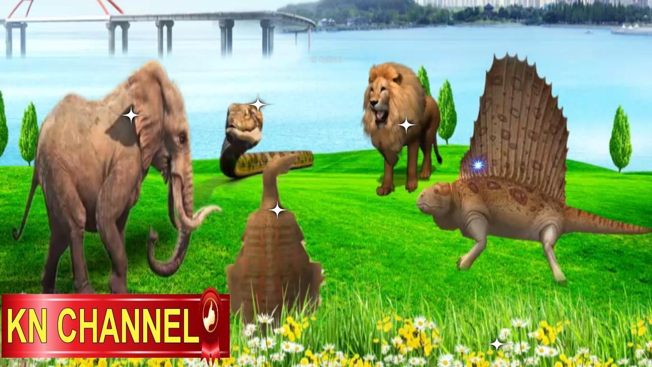 Animals Cartoons for children, Elephant Snake Lion Dinosaur Spinosaurus Finger Family songs