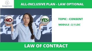 UPSC Law Optional 2020 & 2021 : Lecture on Law Of Contracts/ Mercantile Law. Topic : Consent
