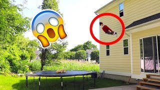 Kid Jumps Out Of Window And Misses The Trampoline!