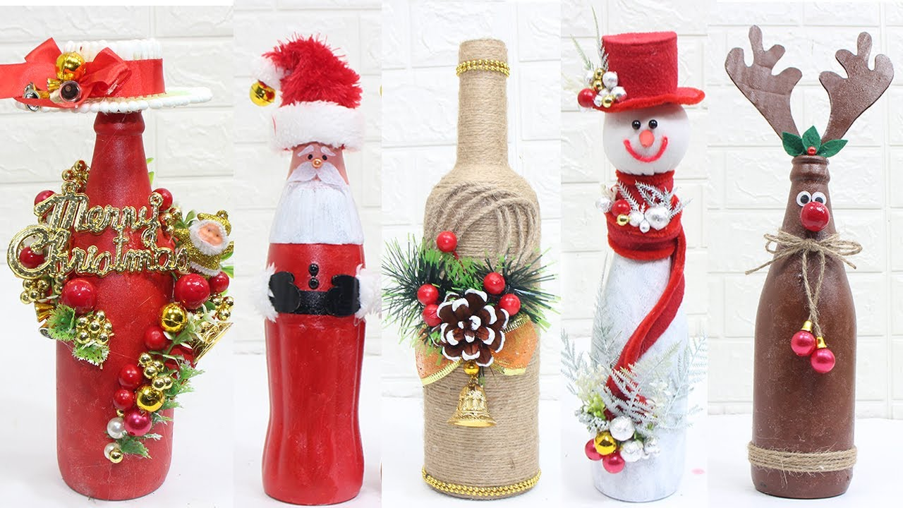 11 Christmas Bottle Decoration Ideas Home Decorating Ideas Easy Youtube