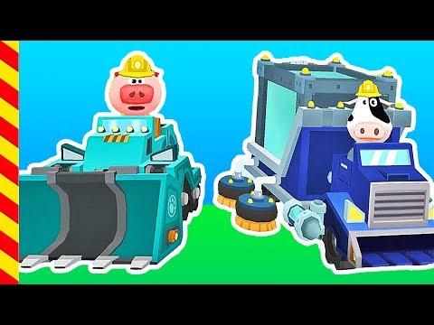 Мультфильм про строительную технику. Грузовик и уборочная машина катают хрюшку и корову.
