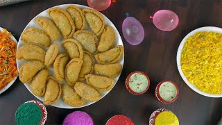Top view shot of a decorated table for the joyful Holi festival celebrated in India