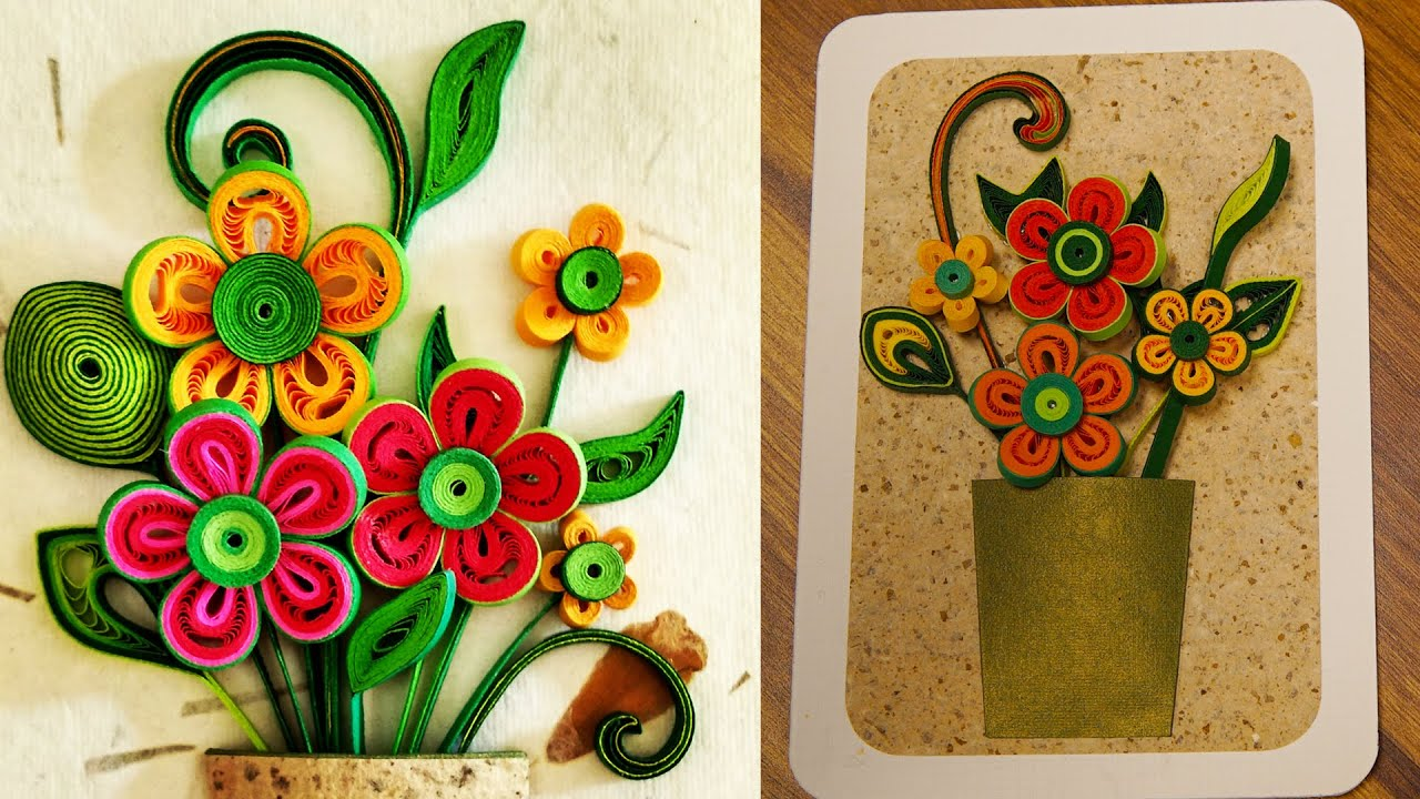 How to make a 3d flower greeting card quilling artwork youtube m4hsunfo