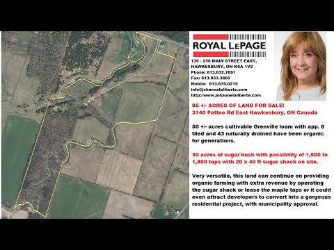 ACRES FOR SALE!!  -  UNIQUE AND VERSATILE 85+/-  3140 Pattee Rd East Hawkesbury ON Canada