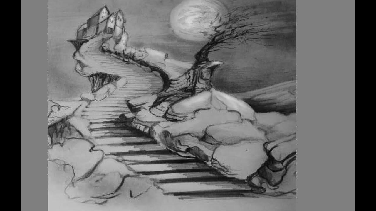 Berg tekenen met trap en kasteel grafiet potlood youtube - Hoe een trap te kleden ...