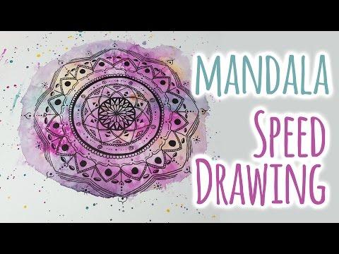 Speed Drawing ♥ Mandala on Watercolor ♥  Tattoo Design - DIY | Colorful