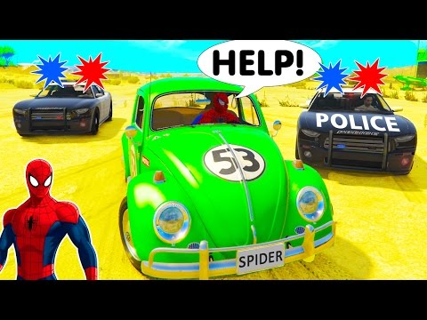 Thumbnail: HOT PURSUIT! Police Cars race with Spiderman CARS Cartoon for Kids w Children Nursery Rhymes Songs