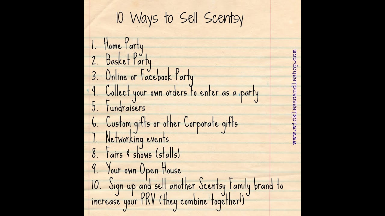 Scentsy Training Tip: 10 Ways to Sell Scentsy or Velata - YouTube
