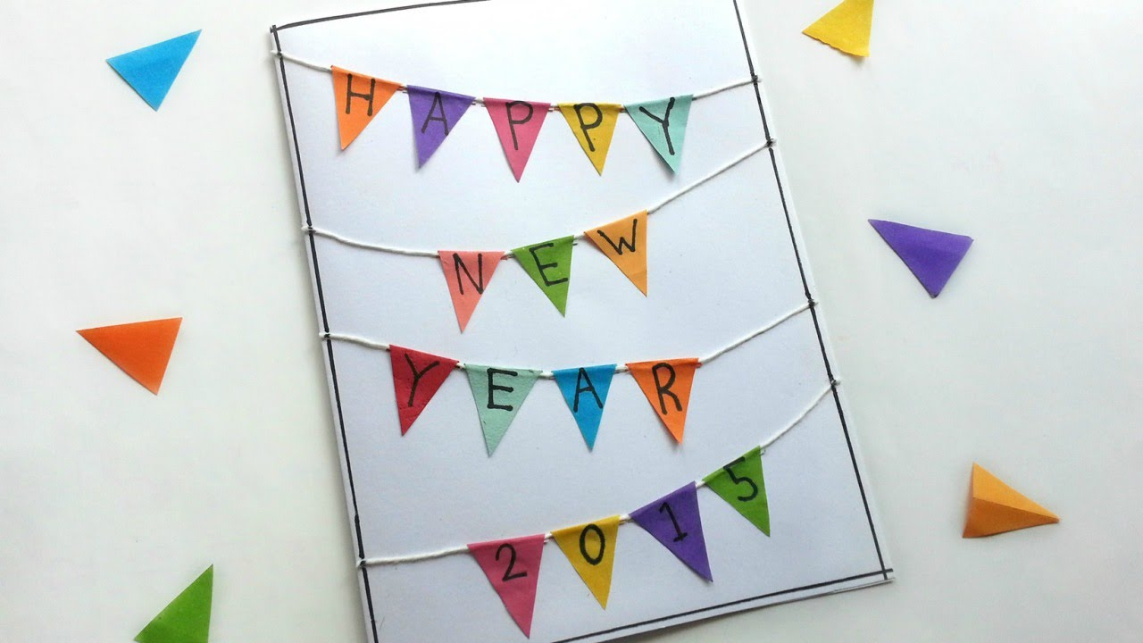 create a triangle banner new years card diy crafts guidecentral