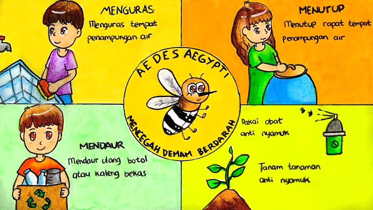 Cara Menggambar Dan Mewarnai Poster Tema Melawan Dbd Demam Berdarah Nyamuk Aedes Aegypti Youtube