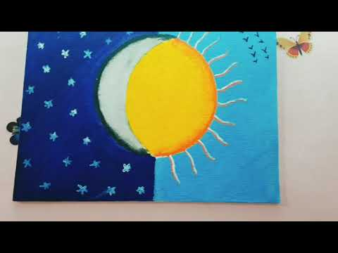 Half Sun Half Moon Painting Idea Simple Diy Painting Youtube