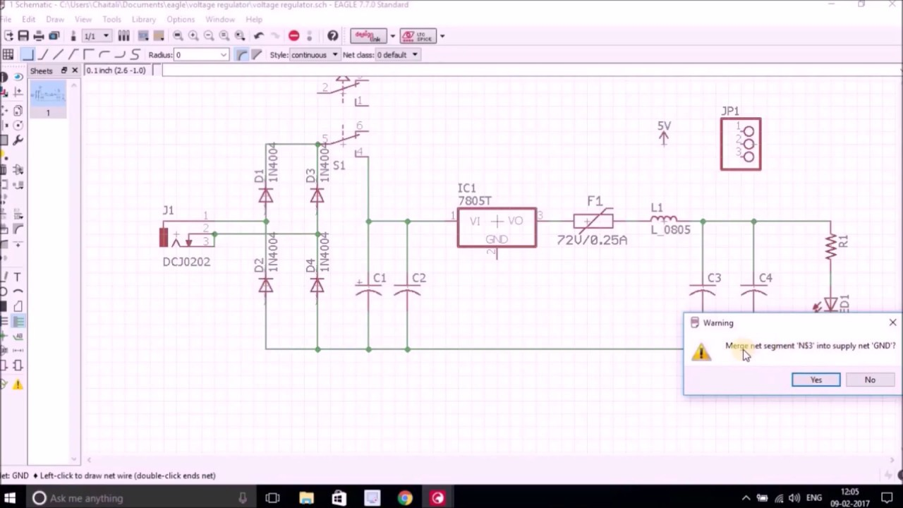 Eagle Schematic Regulator Wire Center Building A Finite State Machine Using Dfasimple Perlcom Design With Pcb Tool Youtube Rh Com High Voltage Basic 7805 Circuit