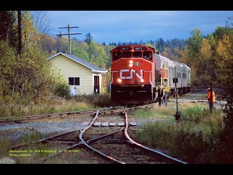ex-Algoma Central, CN passenger & freight, with ex-ALCO PB-1 power car. 9/2007