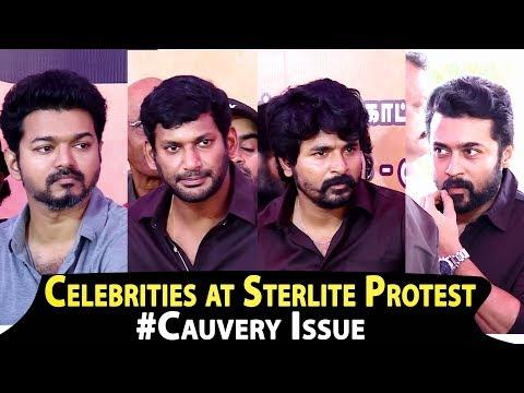 Actors Vijay, Surya, Shiva, Vishal at Protest Against Cauver