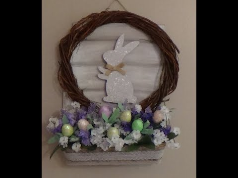 Dollar Tree DIY Easter Decor Wall Hanging Wreath Sign Floral Display