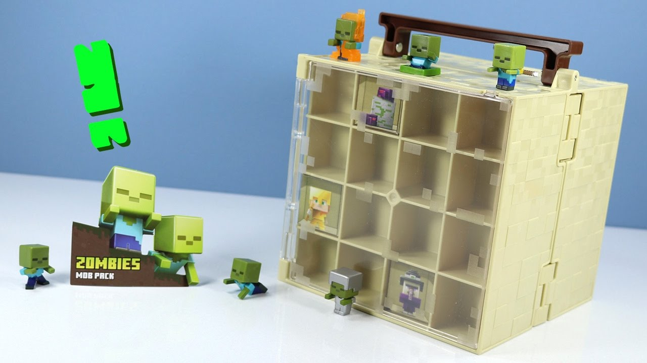 Case Blue Mini Pack : Minecraft mini figure zombie mob pack & chest series collector case