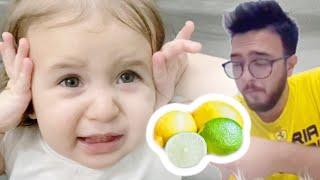 بيبي تجرب الليمون اول مره .. ما توقعت ردة فعلها 🍋👶🏼