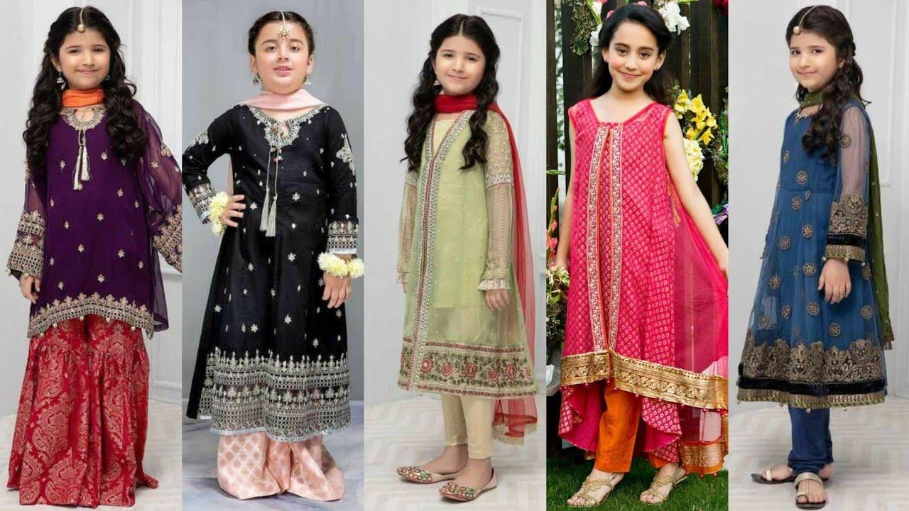 New Very Elegant Designer Eid Dress Designs For 5 To 10 Year Girls