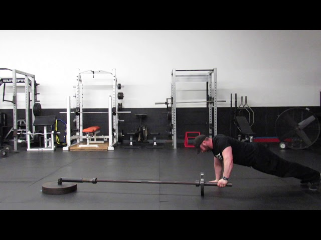 LANDMINE ALTERNATING PUSHUP