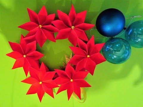 How to make a paper christmas wreath - Paper Christmas Decorations DIY