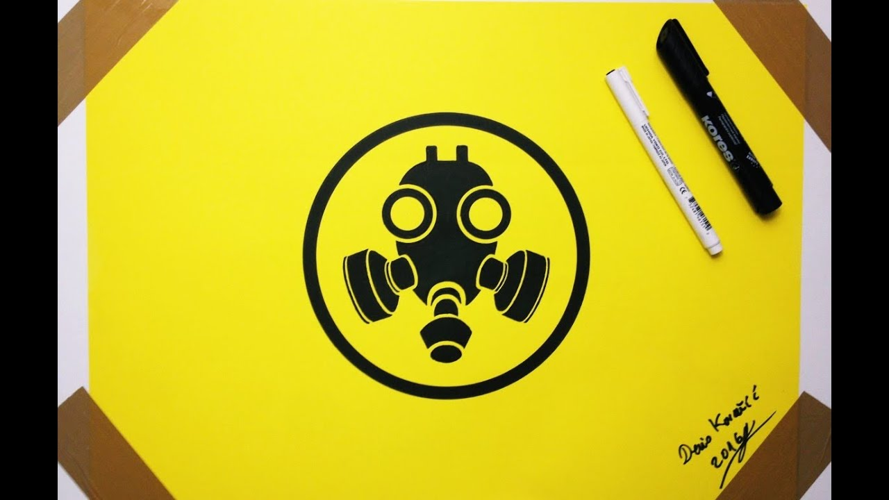 gas mask drawing sign
