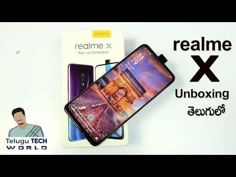 Realme X Pop Up Selfie Camera 🤳Smartphone Unboxing & Initial Impression  In Telugu