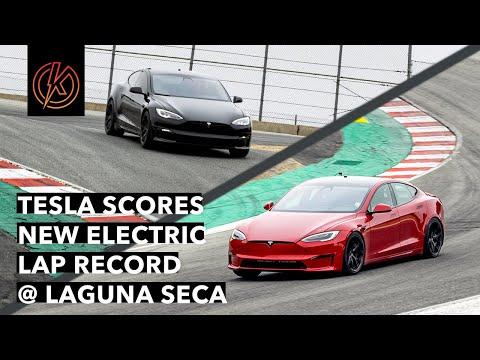 TESLA SETS NEW 1:29.9 EV LAP RECORD AT LAGUNA SECA - (Unofficial Raw Video)