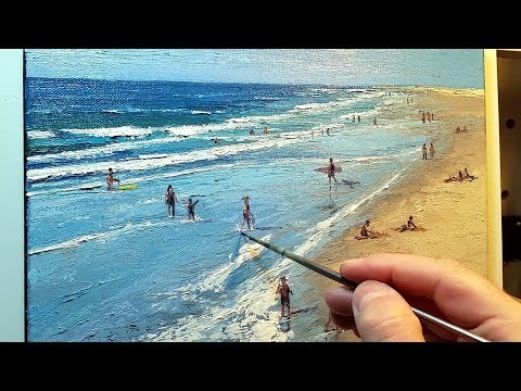 At the Beach - How to - Oil Painting - Palette Knife | Brush Ocean Coast Waves Dusan