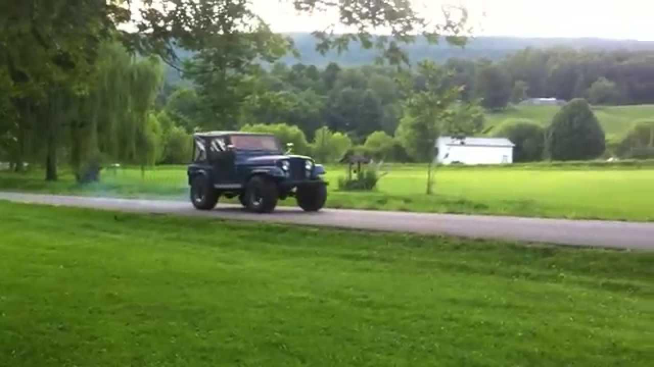 1978 Jeep CJ5 304 burnout - YouTube