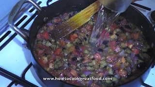 Aubergine & Tomato Pasta Sauce recipe All natural vegan how to cook great food Italian Egg plant