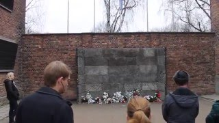 Death wall of Auschwitz concentration camp